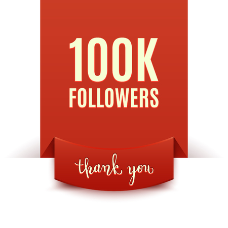 100k followers, social media banner, congratulation, celebration, vector illustration