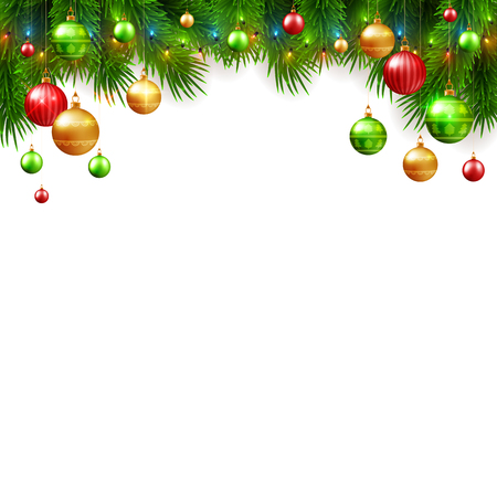 Christmas and New Year background design, decorative colorful balls with fir tree branches, vector illustration