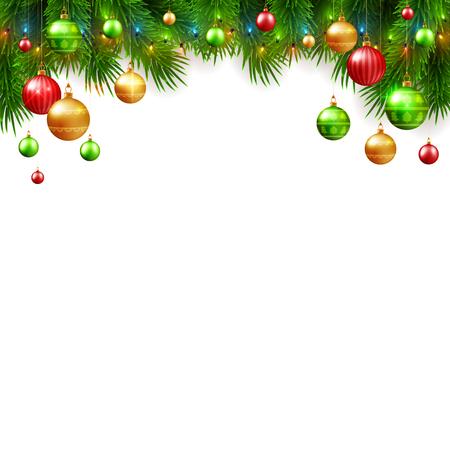 Diseño de fondo de Navidad y año nuevo, bolas de colores decorativos con ramas de abeto, ilustración vectorial