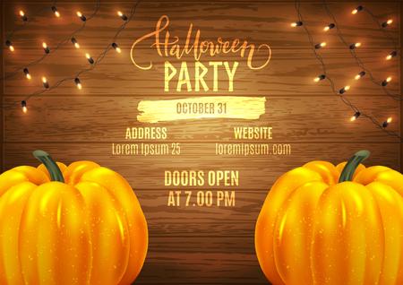 Halloween patry poster design advertisement, realistic pumpkins and decorative lights, vector illustration Ilustração