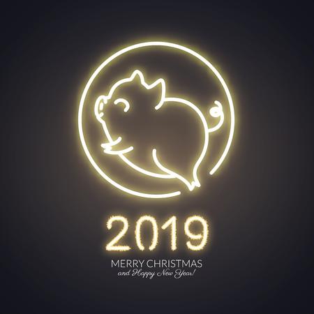 Cute pig neon logo, New year 2019 gold shiny glow design, chinese horoscope symbol, vector illustration