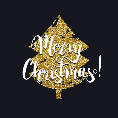 Merry Christmas gold glitter tree and calligraphic text, vector illustration Çizim