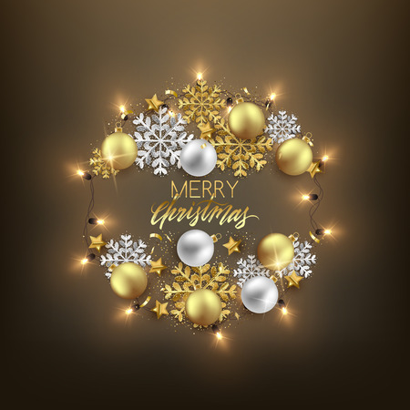 Merry Christmas decorative postcard baubles snowflakes glitter elements and shiny garland wreath, vector illustration 向量圖像
