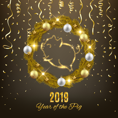 Happy New Year of the pig 2019 cute animal symbol decorative postcard, vector illustration Иллюстрация