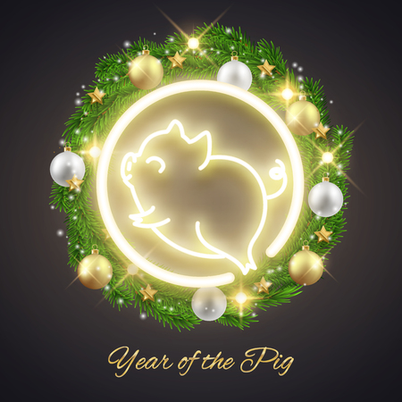 Happy New Year of the pig 2019 cute animal symbol decorative postcard, vector illustration Ilustração