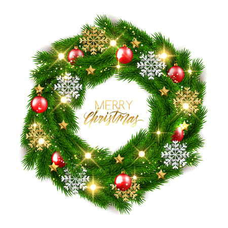 Merry Christmas fir tree branches decorative wreath with shiny baubles, vector illustration