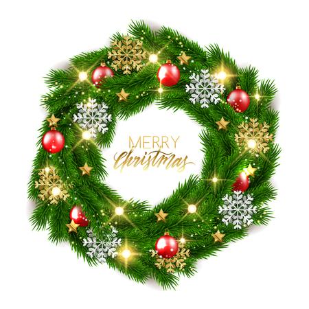 Merry Christmas gałęzie jodły ozdobny wieniec z błyszczącymi bombkami, ilustracji wektorowych