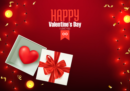 Happy Valentine's day composition, love postcard, banner, background template, vector ilustration