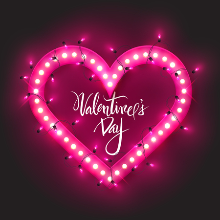 Valentine's Day card, retro neon heart with led lights, vector illustration