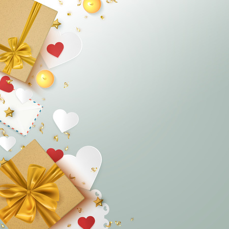 Gift boxes and decorative elements holiday background template, valentine, birthday, christmas banner card, vector illustration