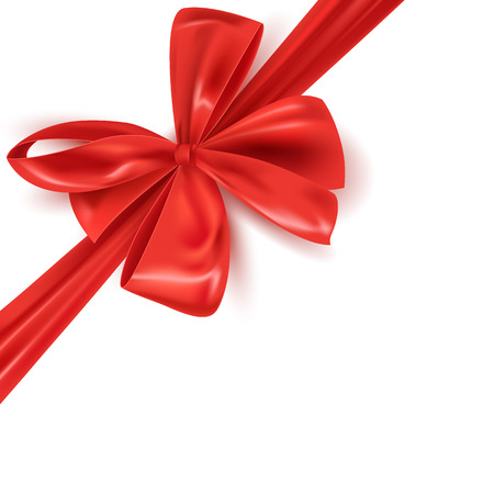 Realistic red ribbon bow isolated, vector illustration Vektorové ilustrace