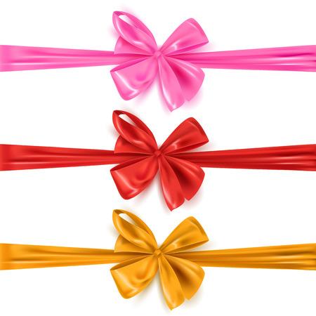 Set di fiocchi di nastro decorativi colorati isolati su bianco, illustrazione vettoriale