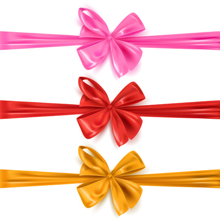 Set of colored decorative ribbon bows isolated on white, vector illustration