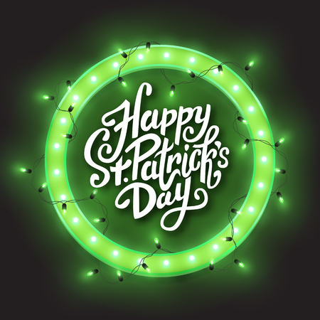 Happy Saint Patrick's Day green retro neon circle frame, led shiny lights garland, vector illustration Illustration