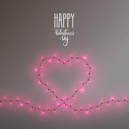 Heart shape led lights shiny garland frame, vector illustration