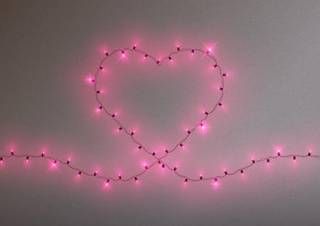 Heart shape led lights shiny garland frame, vector illustration Zdjęcie Seryjne - 125338779