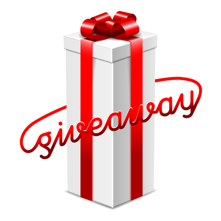 Giveaway advertisement banner design, long big gift box with red ribbon, vector illustration Stock Illustratie