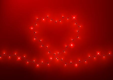 Heart shape led lights shiny garland frame, vector illustration Zdjęcie Seryjne - 125338784