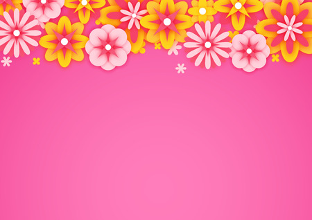 Background with colorful paper flowers, spring postcard, vector illustration