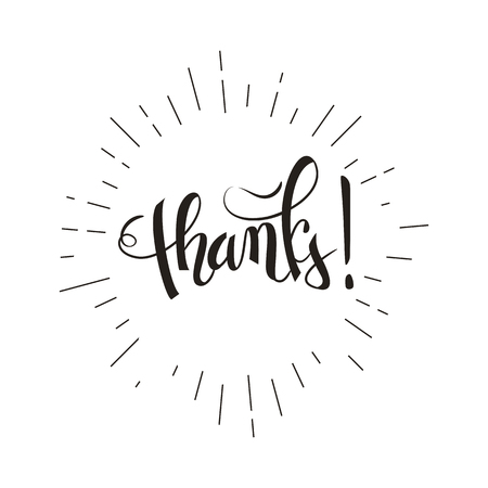 Thank you brush pen lettering, handwritten vector illustration, dark text isolated on white background