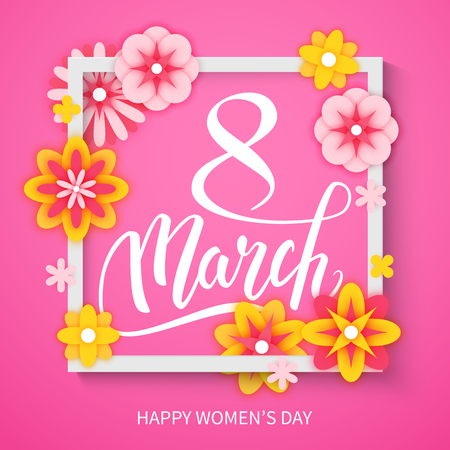 Happy International Women's Day decorative postcard banner with beautiful spring flowers, 8 March, vector illustration Banque d'images - 125338788
