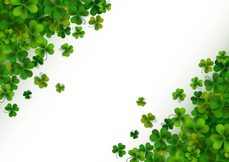Happy Saint Patricks Day background with realistic green shamrock leaves, advertisement, banner template, vector illustration