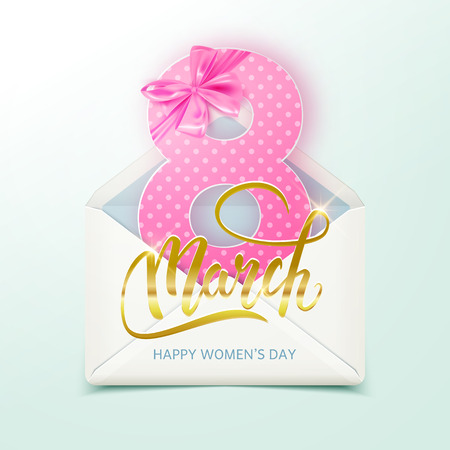 Happy International Womens Day decorative postcard, 8 March and realistic envelope, vector illustration Illustration