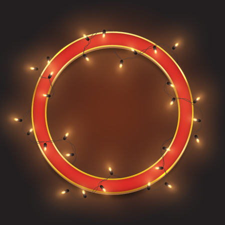 Red retro neon circle frame, led shiny lights garland, vector illustration Ilustrace
