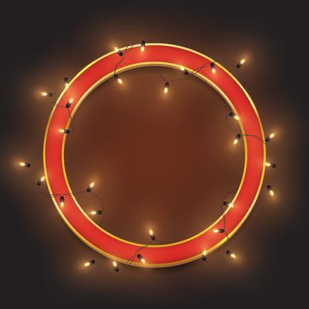 Red retro neon circle frame, led shiny lights garland, vector illustration Illustration