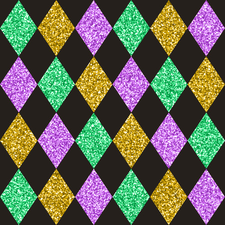 Mardi Gras colors seamless pattern design, texture for wallpapers, fabric, wrap, web page backgrounds, vector illustration Illusztráció