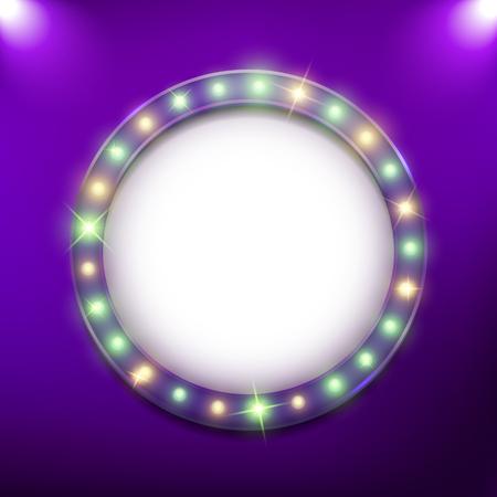 Round shiny retro billboard frame with neon led lights, holiday, Mardi Gras, vector illustration