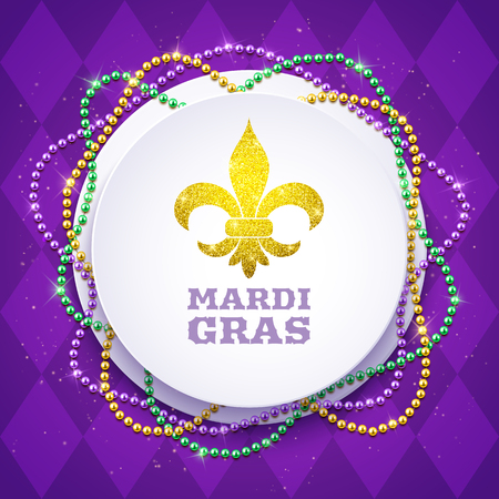 Mardi Gras decorative round banner with colorful traditional beads, vector illustration
