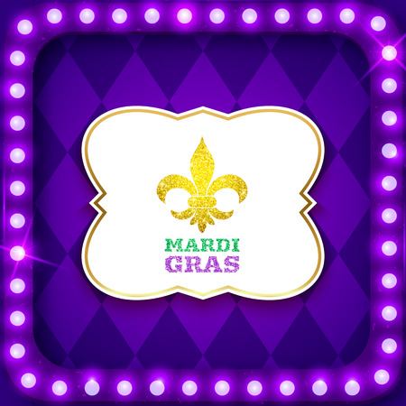 Mardi Gras postcard, purple retro frame with shiny neon led lights, vector illustration
