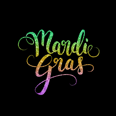 Mardi Gras decorative calligraphic lettering, flyer template, vector illustration