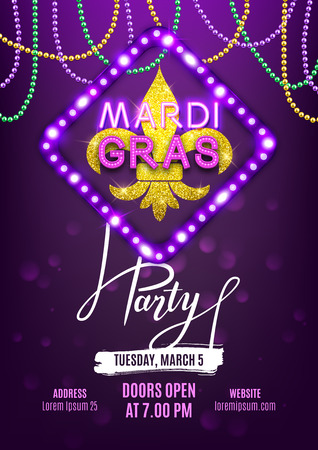 Mardi Gras party carnival banner, decorative beads and shiny gold symbol, vector illustration Çizim