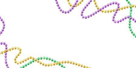 Mardi Gras decorative background with colorful traditional beads on white, vector illustration Vetores