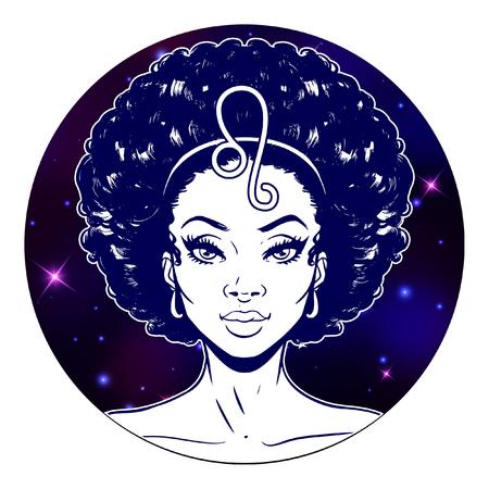 Ilustraciones de signo del zodíaco Leo, cara de niña hermosa, símbolo del horóscopo, signo de estrella, ilustración vectorial