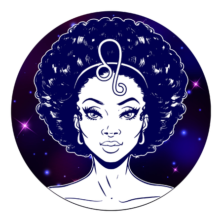 Leo zodiac sign artwork, beautiful girl face, horoscope symbol, star sign, vector illustration
