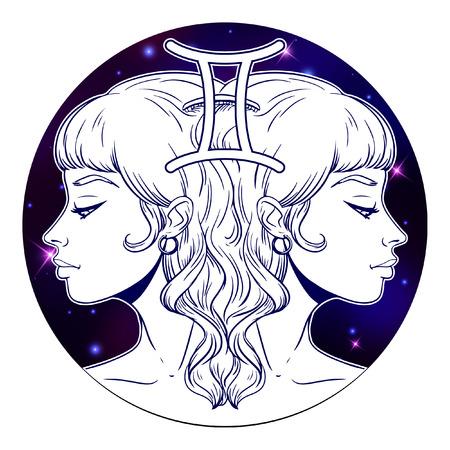 Ilustraciones de signo del zodíaco Géminis, cara de niña hermosa, símbolo del horóscopo, signo de estrella, ilustración vectorial Ilustración de vector