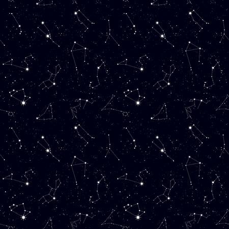 Modèle sans couture du zodiaque, espace, constellations d'étoiles, symboles de l'horoscope. Texture pour fonds d'écran, tissu, emballage, arrière-plans de pages Web, illustration vectorielle Vecteurs