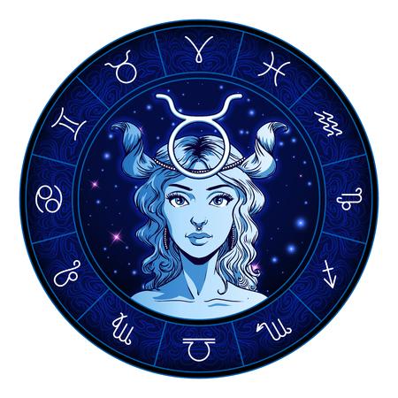 Ilustraciones de signo del zodíaco Tauro, cara de niña hermosa, símbolo del horóscopo, signo de estrella, ilustración vectorial