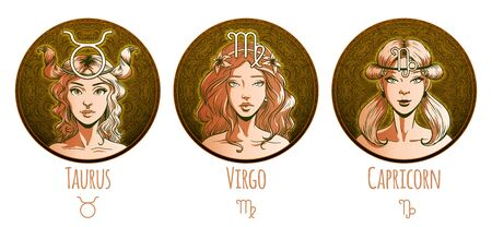 Earth zodiac set, beautiful girls, Taurus, Virgo, Capricorn, horoscope symbol, star sign, vector illustration