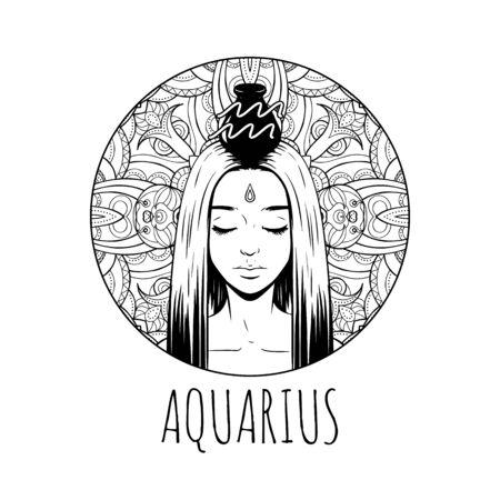 Acuario signo del zodíaco ilustraciones, página de libro para colorear para adultos, hermosa chica símbolo del horóscopo, ilustración vectorial
