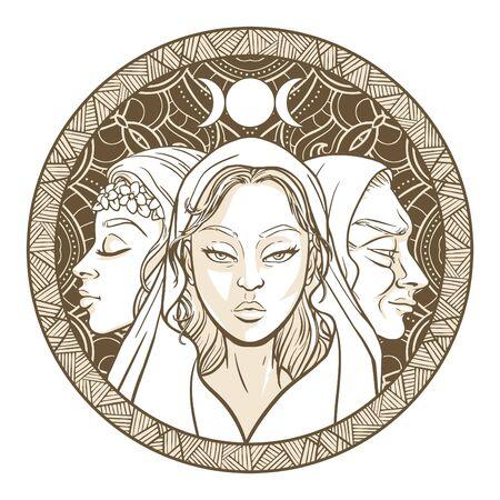 Triple déesse en tant que jeune fille, mère et vieille, belle femme, symbole des phases de la lune. Hekate, mythologie, wicca, sorcellerie. Illustration vectorielle Vecteurs