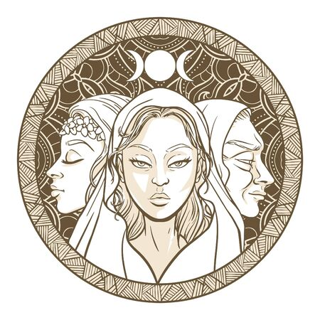 Triple goddess as Maiden, Mother and Crone, beautiful woman, symbol of moon phases. Hekate, mythology, wicca, witchcraft. Vector illustration