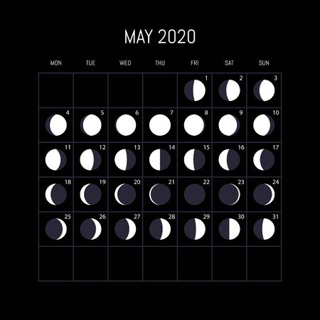 Moon phases calendar for 2020 year. May. Night background design. Vector illustration
