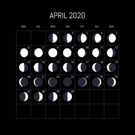 Moon phases calendar for 2020 year. April. Night background design. Vector illustration Vectores