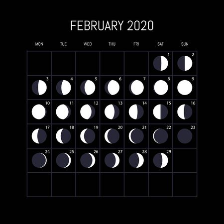 Moon phases calendar for 2020 year. February. Night background design. Vector illustration 向量圖像
