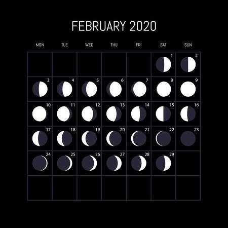 Moon phases calendar for 2020 year. February. Night background design. Vector illustration Illustration