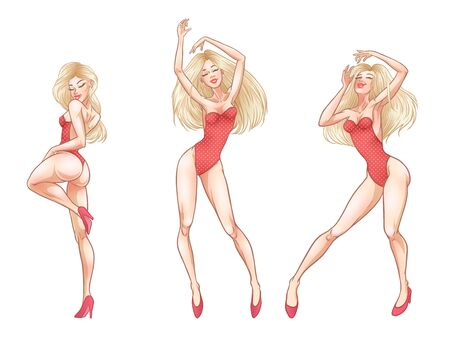 Beautiful young blonde woman dancing in red underwear, hot girl, club, burlesque, striptease symbol. Vector illustration